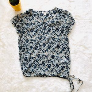 Lucky Brand live in love Floral Blouse Blue